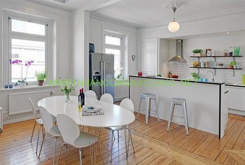 Phòng ăn bếp theo phong cách hiện đại, đơn giản hơn