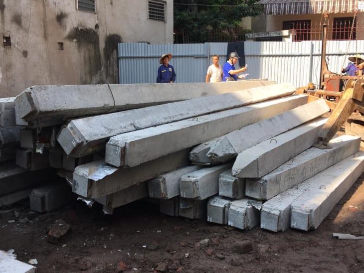 Thi công cọc bê tông nhà biệt thự 5 tầng Đông Anh Hà Nội