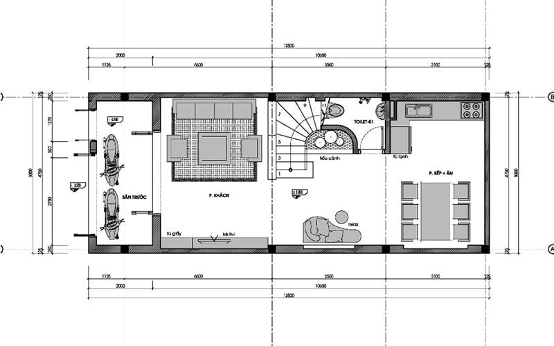 bản vẽ thiết kế nhà 3 tầng 6x10 1