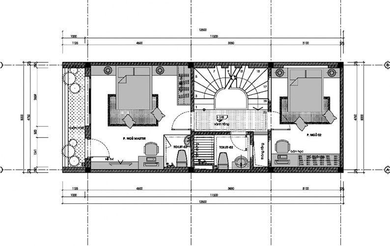 bản vẽ thiết kế nhà 3 tầng 6x10 2
