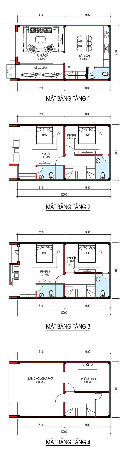 bản vẽ thiết kế nhà 4 tầng 6x10