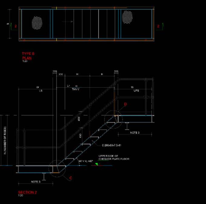 Bản vẽ thiết kế cầu thang sắt thoát hiểm