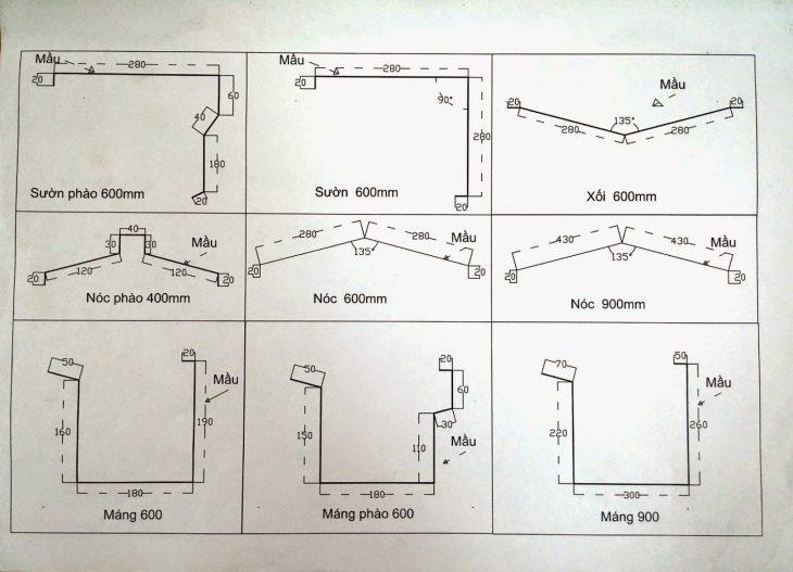 bảng vẽ thiết kế các loại phụ kiện mái tôn