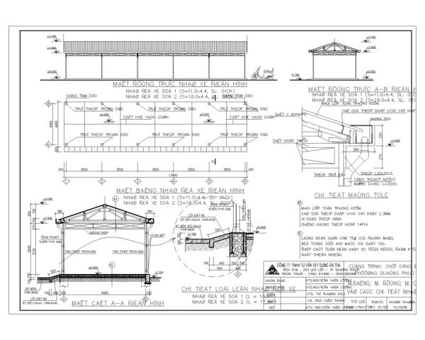 Bản vẽ nhà để xe mái tôn vì kèo thép