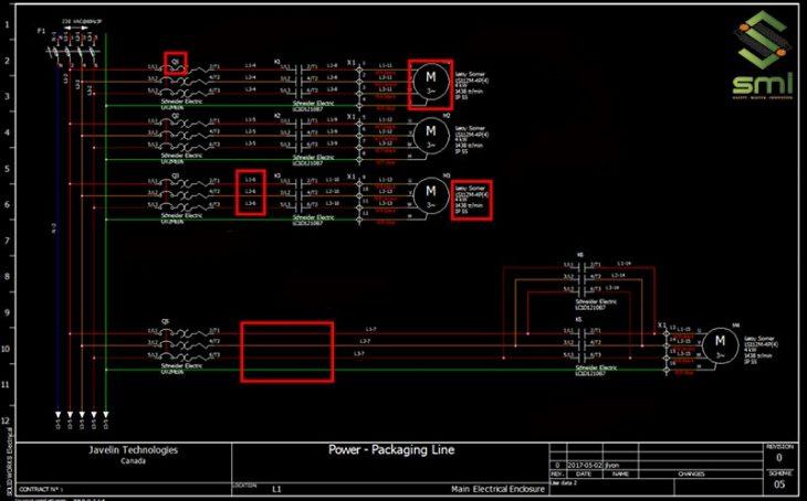 Bản vẽ CAD mẫu của một hệ thống điện