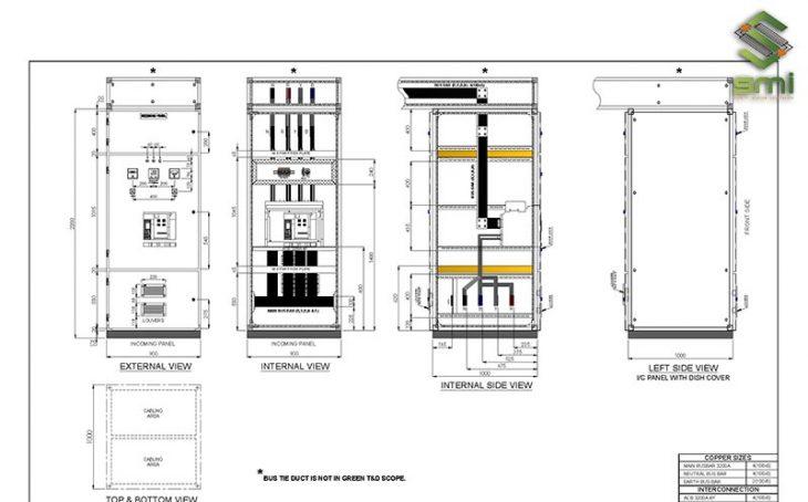 Bản vẽ thiết kế tủ điện thể hiện đầy đủ ký hiệu của các thiết bị