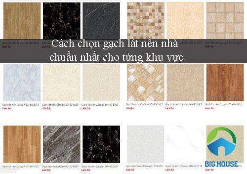 Gạch nền nhà có sự đa dạng về màu sắc, kích thước