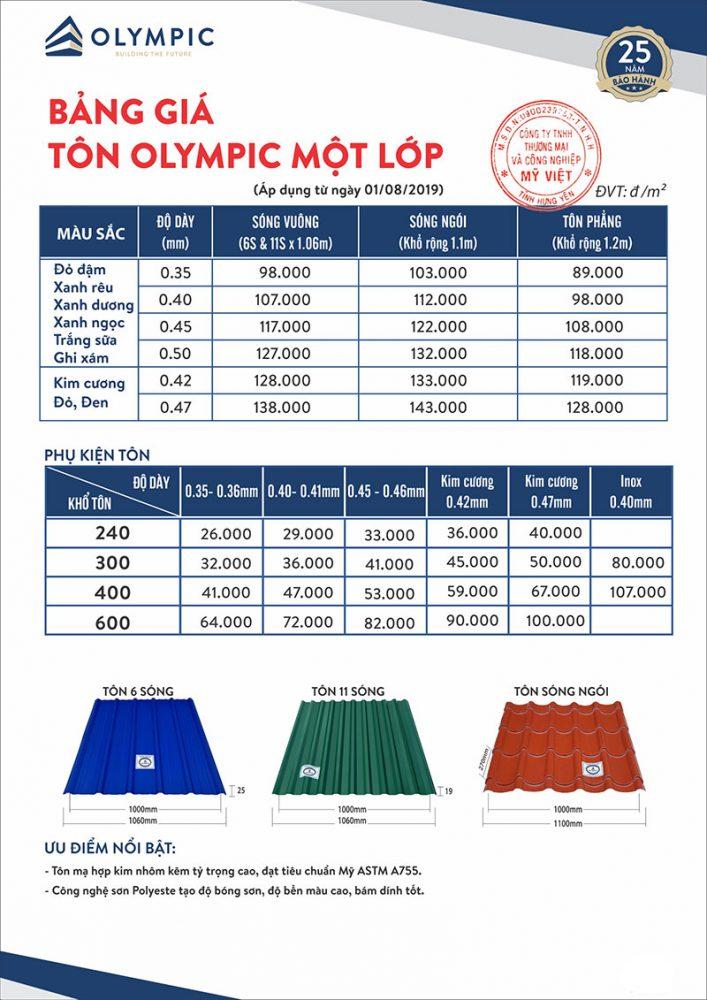 Bảng báo giá tấm lợp Olympic