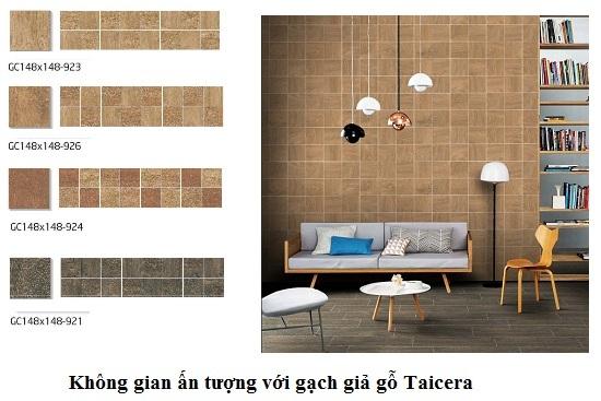 Gạch lát nền nhà giả gỗ Taicera cho phòng khách